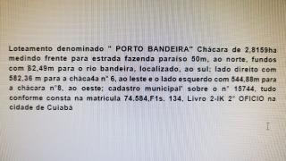 Cuiabá: VENDO!!! Uma chácara com 2.81 hectares na região do bandeira 12 km de Cuiabá-MT, sendo 8 km de chão 20