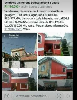 São Paulo: Vende-se um terreno com 3 casas construídas e garagem Escritura Registrada IPTU isento 1